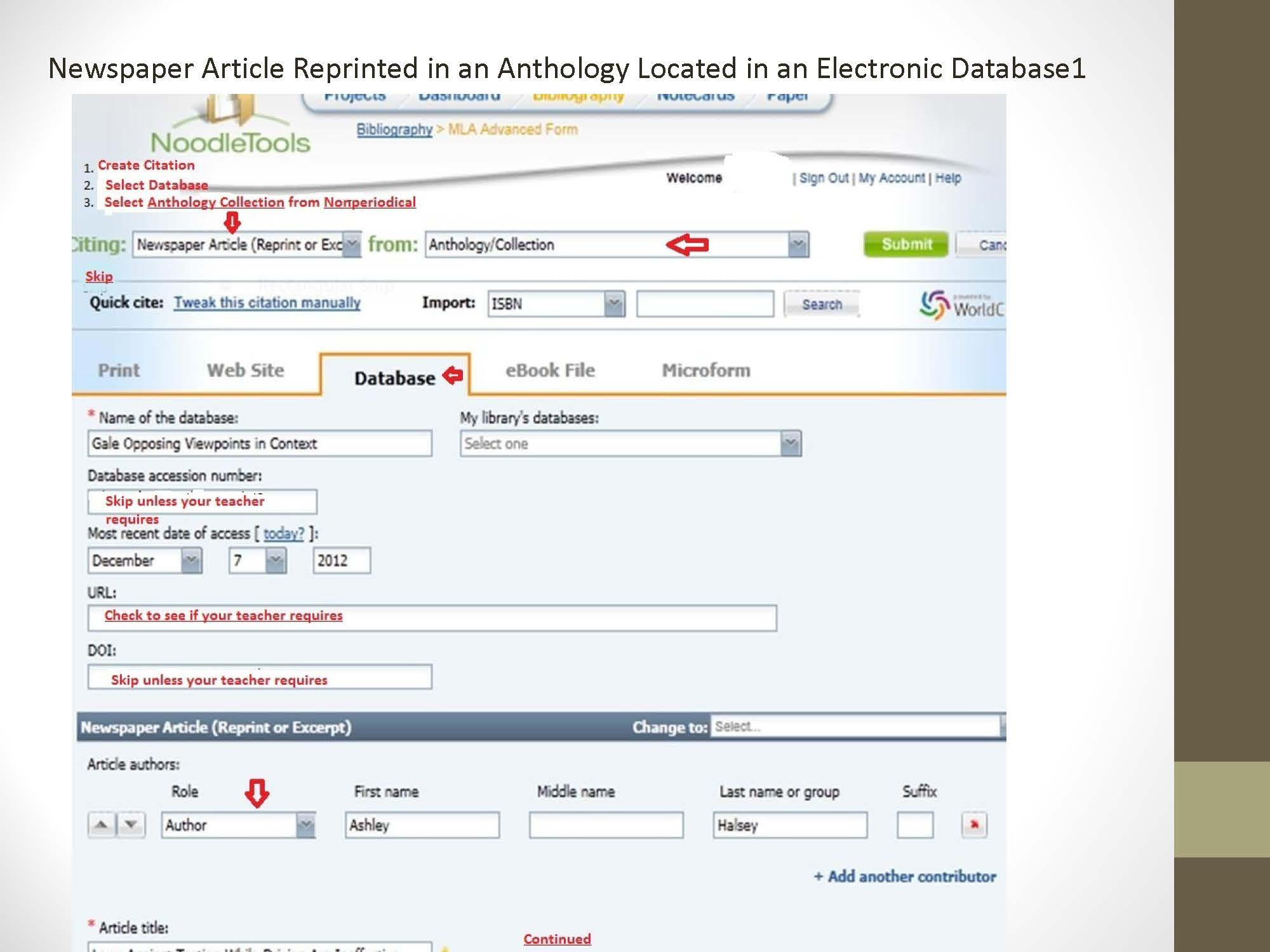 Citing Newspaper Article in an Anthology, located within an Electronic Database
