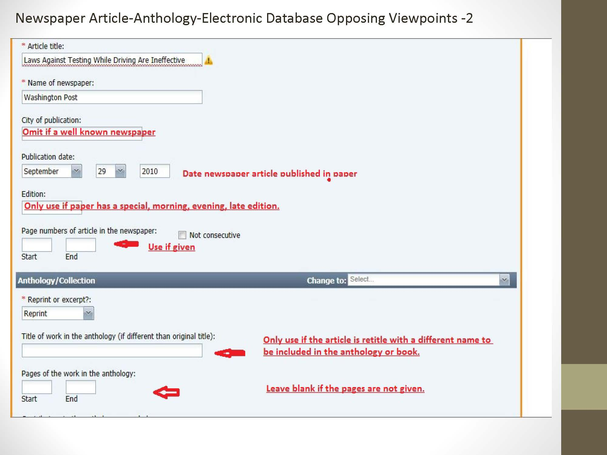 Step 2 in Citing a Newspaper Article in an Anthology located in an Electronic Database