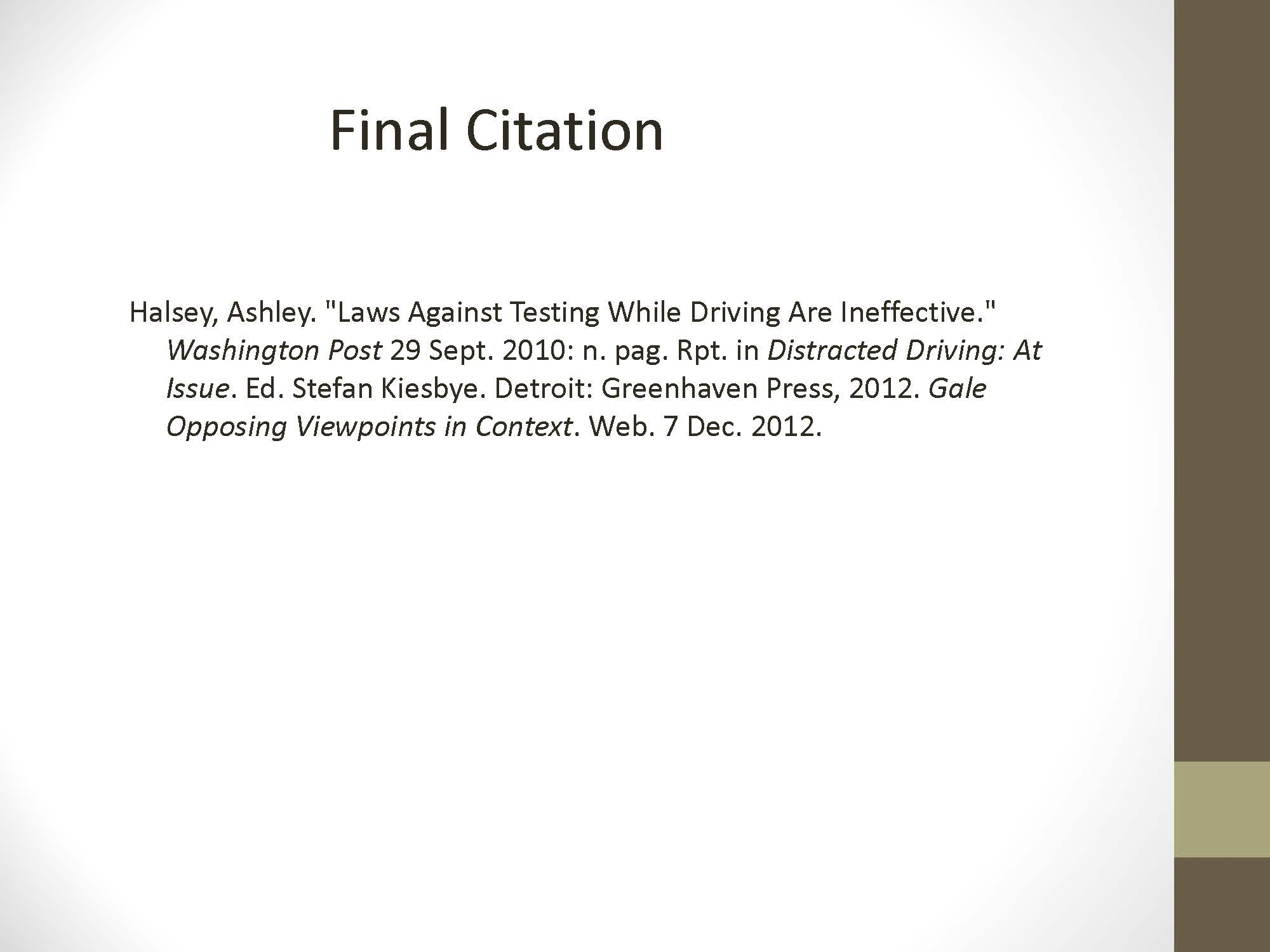 Final Citation of a Newspaper reprinted in an Anthology, located in an Electronic Database